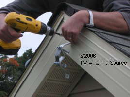 TV antenna eave mount install small upper bracket